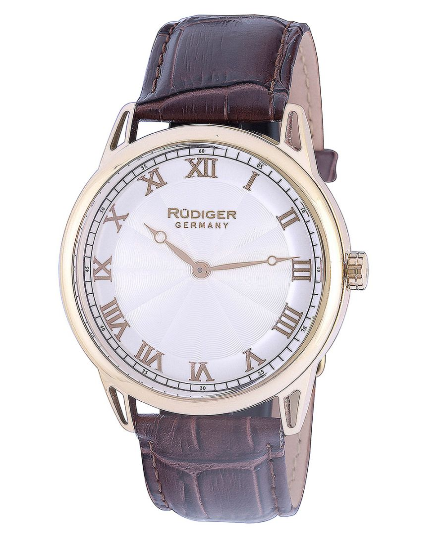 Image for Rudiger Men's R2800-02-001 Ulm Gold IP Roman Numbers Brown Leather Watch