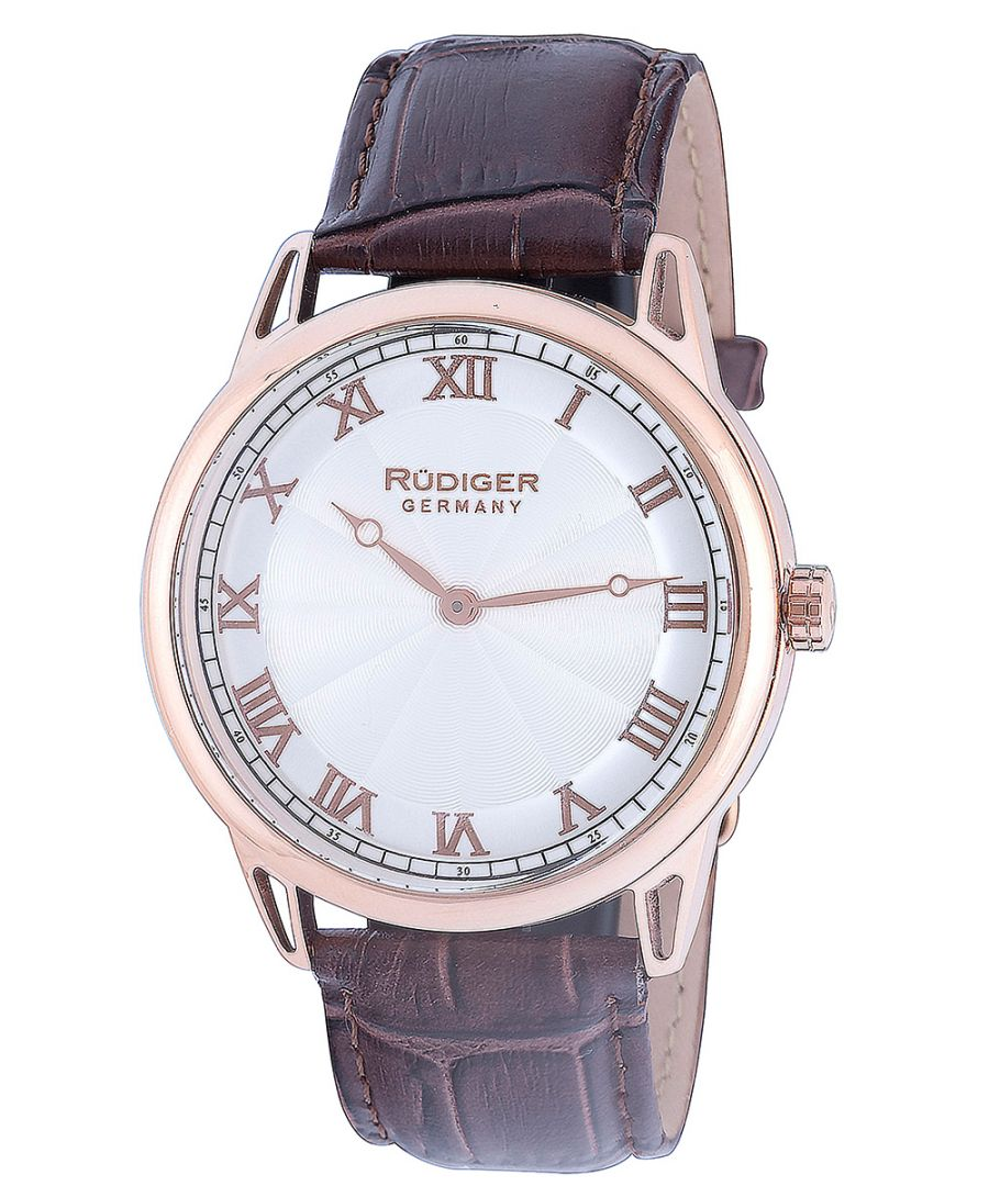 Image for Rudiger Mens R2800-09-001 Ulm Rose-Gold IP Silver Dial Brown Leather Watch