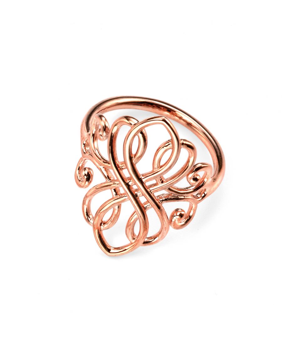 Image for Elements Silver 925 Sterling Silver Ladies Rose Gold Plated Filigree Ring