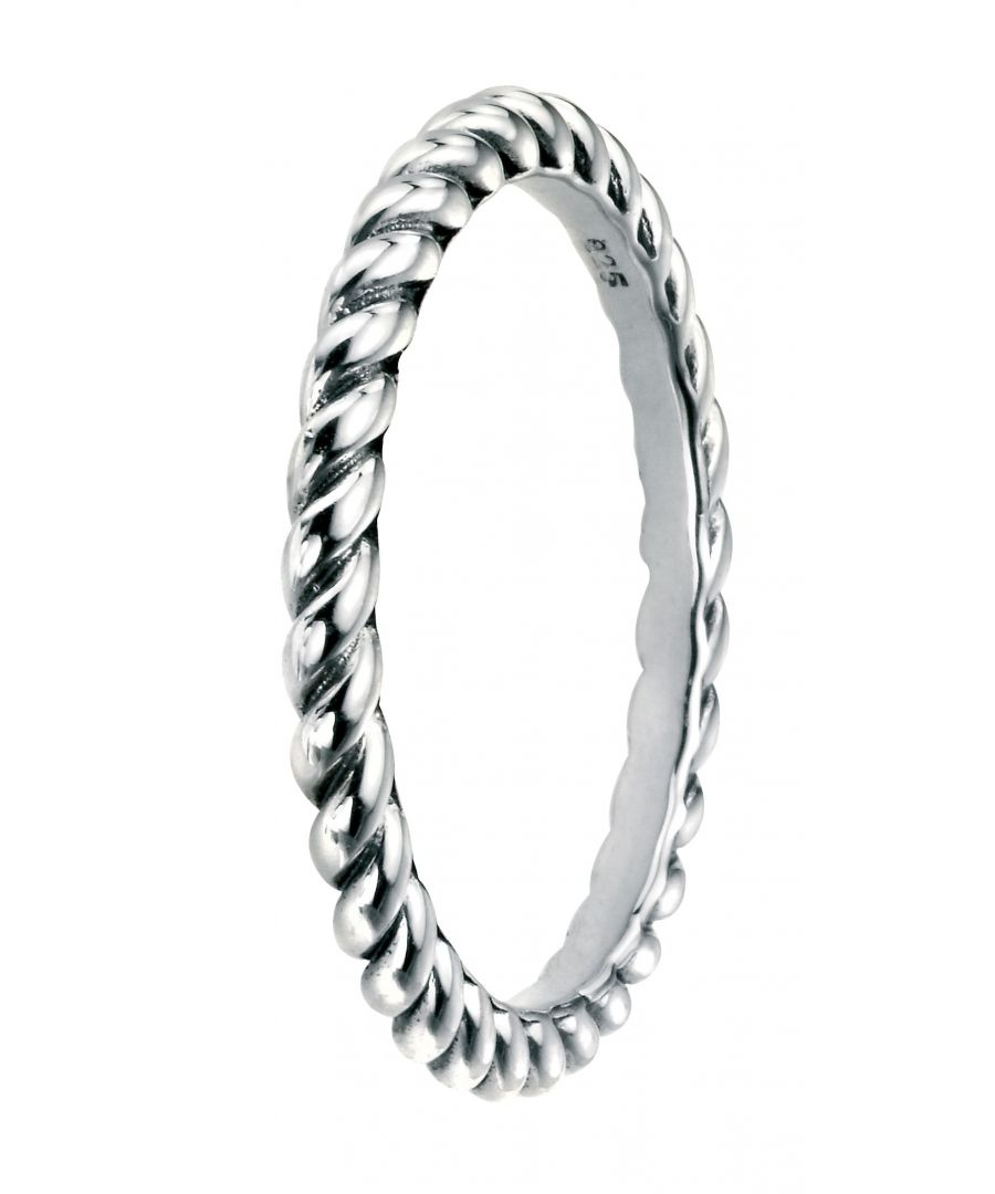 Image for Elements Silver 925 Sterling Silver Oxidised Finish Twist Band Ring
