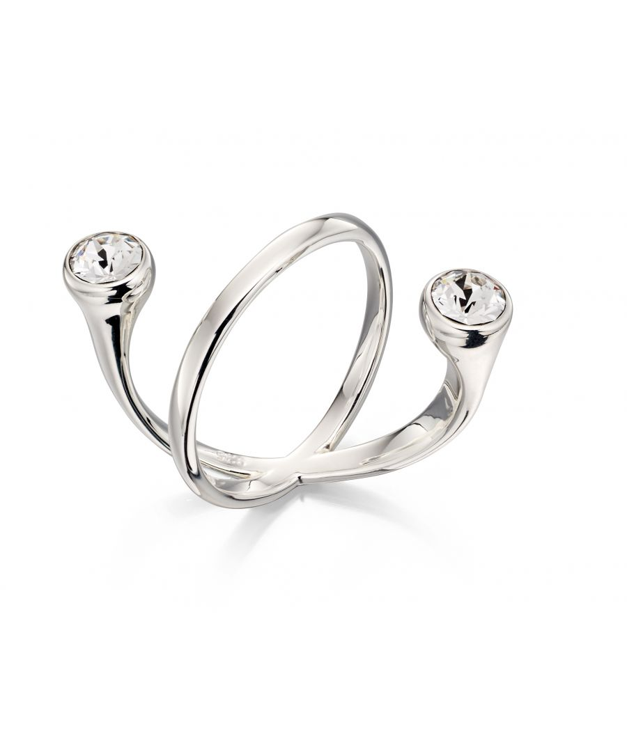 Image for Elements Silver Women's 925 Sterling Silver Floating Clear Crystal by Swarovski Ring