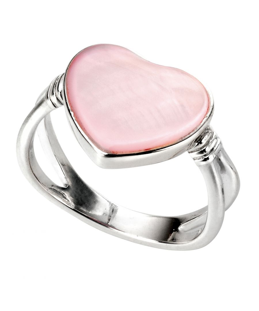 Image for Elements Silver Womens 925 Sterling Silver Pink Mother of Pearl Heart Ring