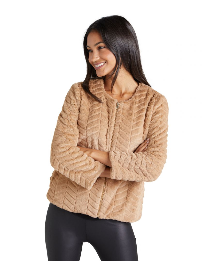 Image for Zip Up Faux Fur Jacket