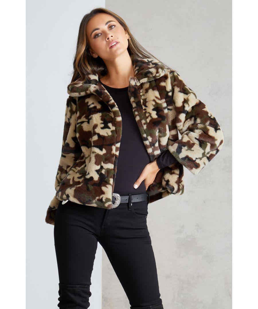 Image for Camo Print Faux Fur Jacket