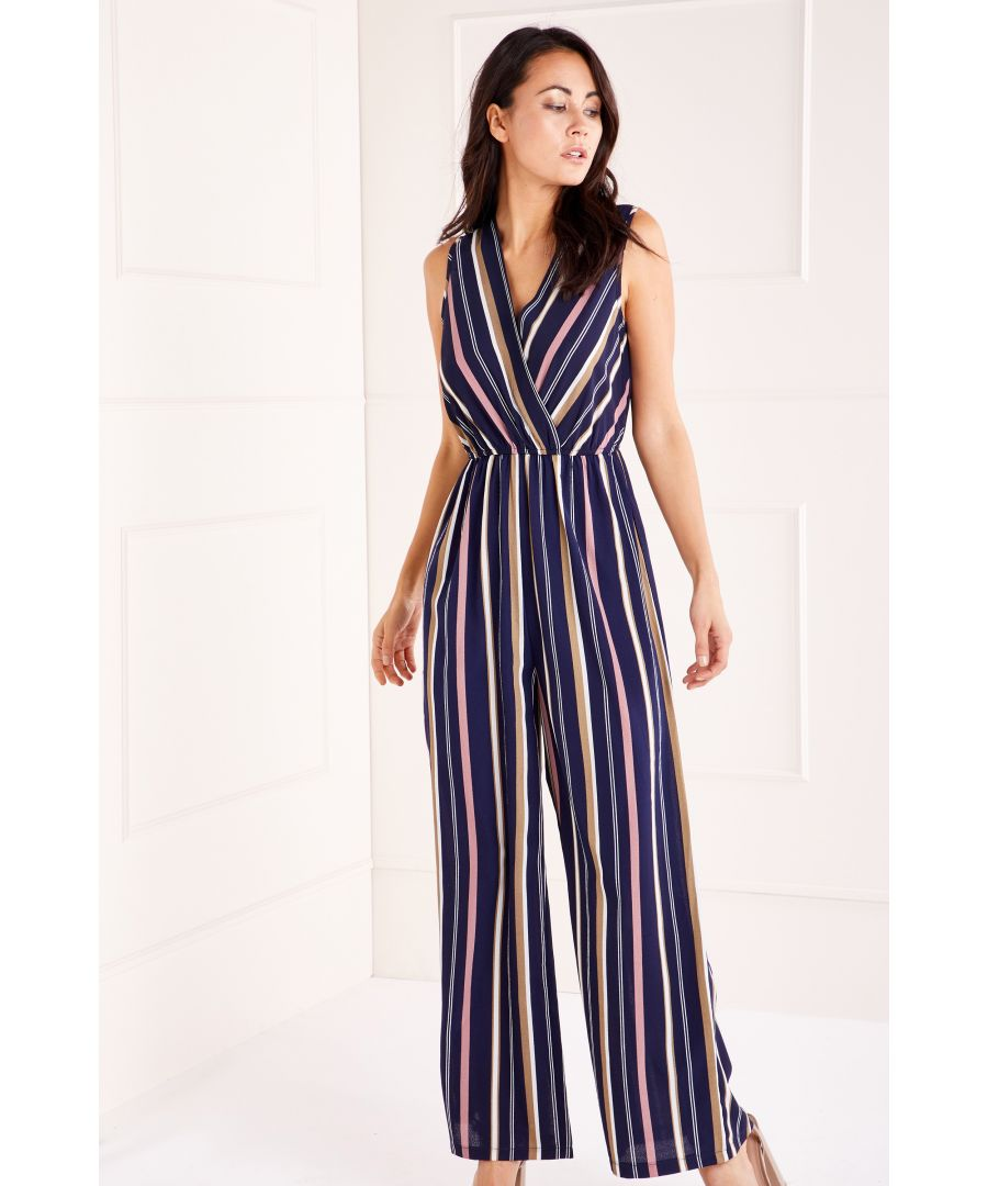 Image for Striped Wrap Front Jumpsuit