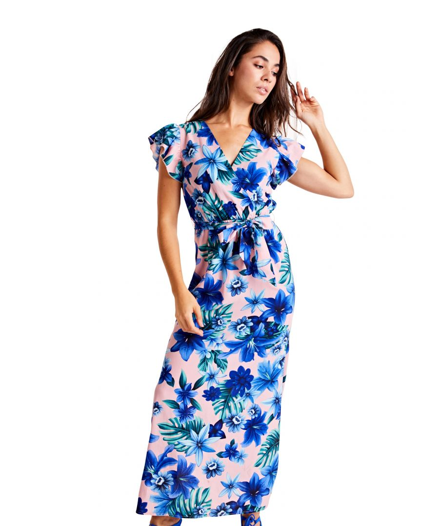 Image for Tropical Ruffle Sleeve Maxi Dress