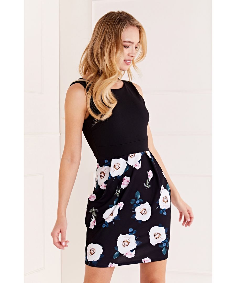 Image for Floral Contrast Tulip Dress