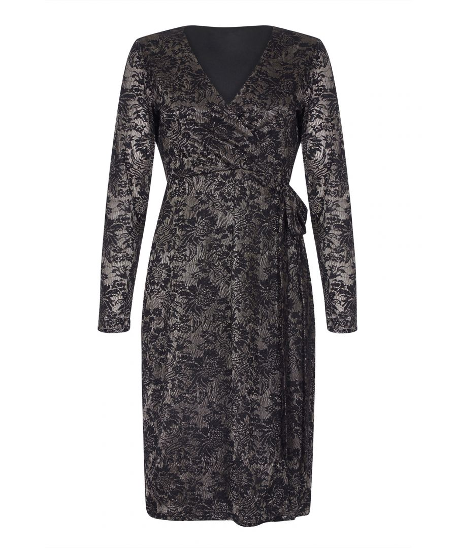 Image for Two Tone Lace Wrap Effect Dress