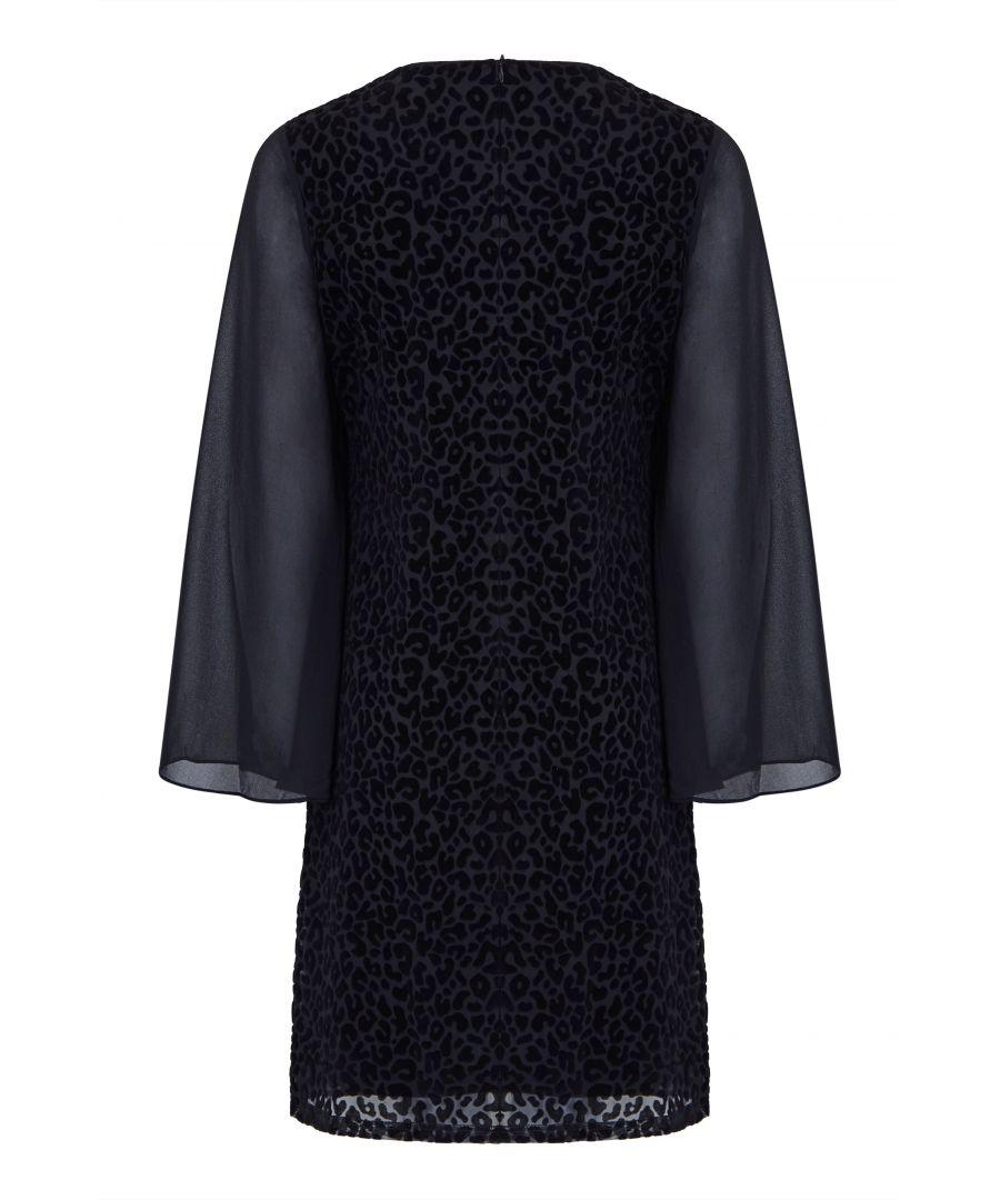 Image for Leopard Flock Printed Shift Dress
