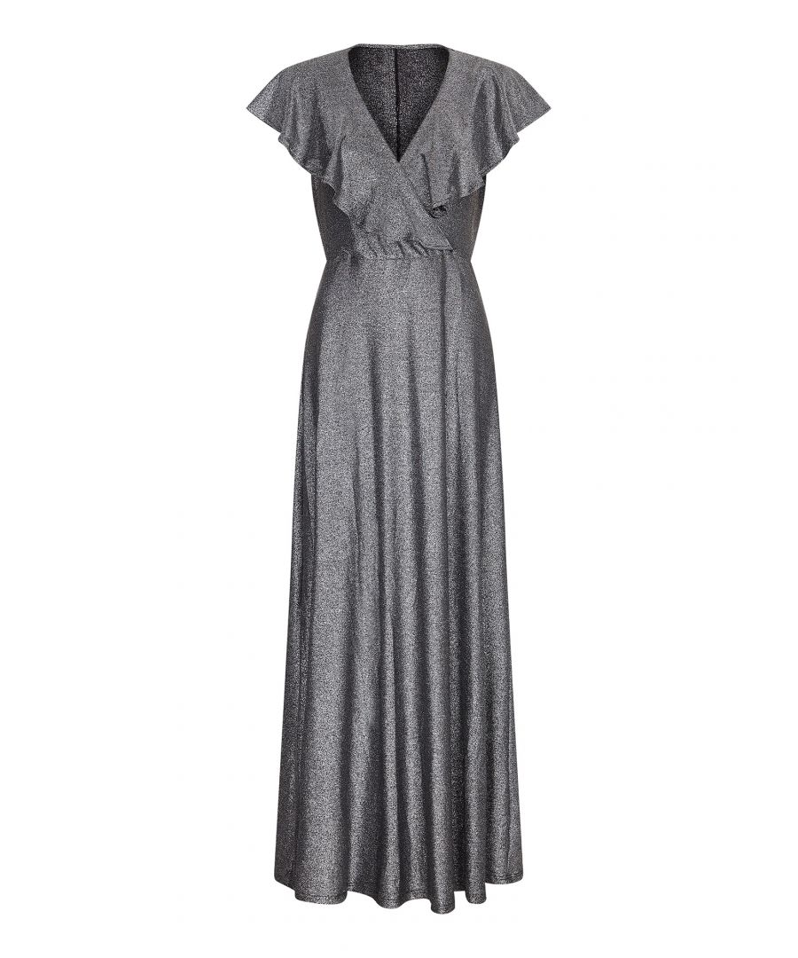 Image for Ruffle Neck Silver Maxi Dress