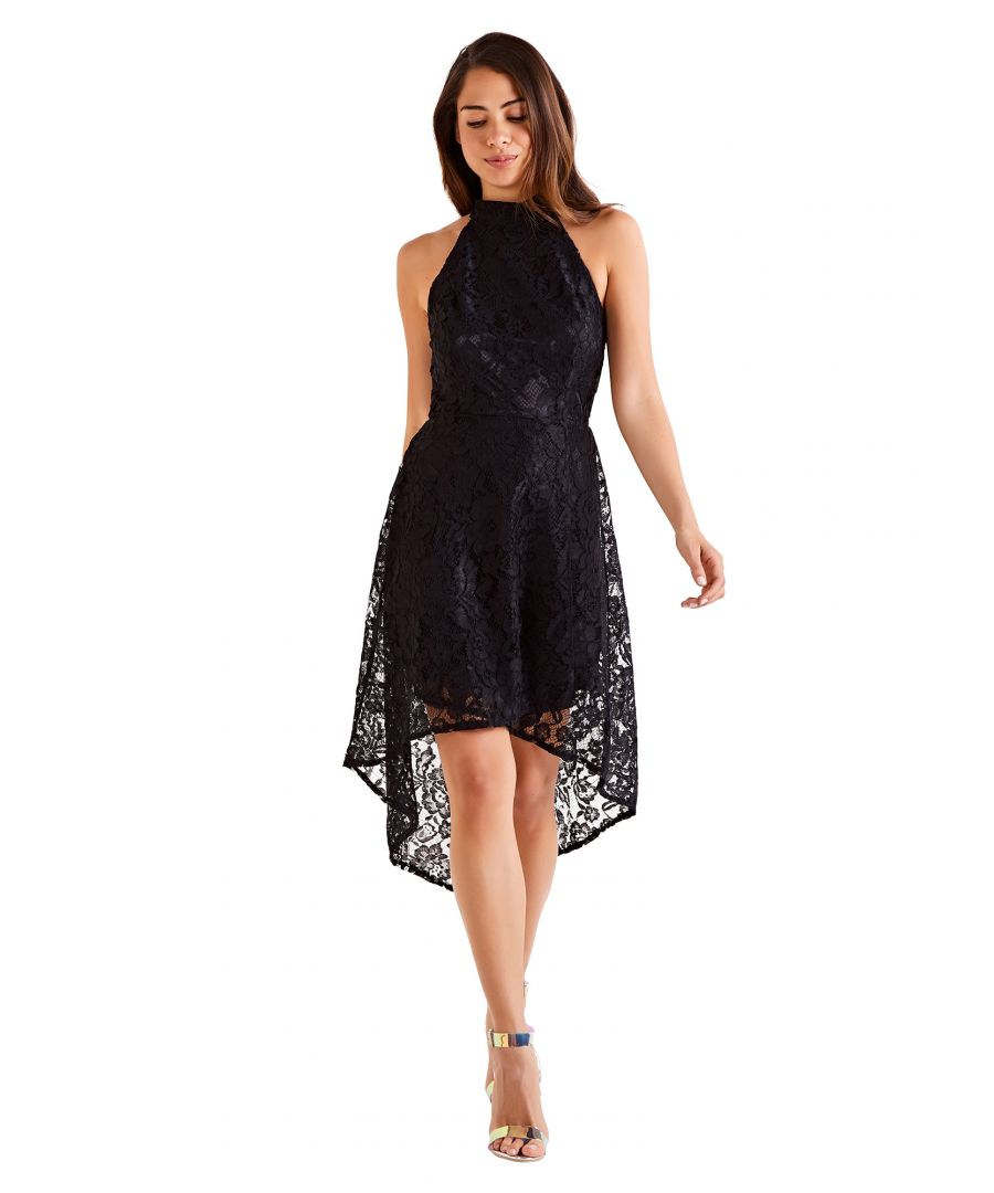 Image for Lace Halter High Low Dress