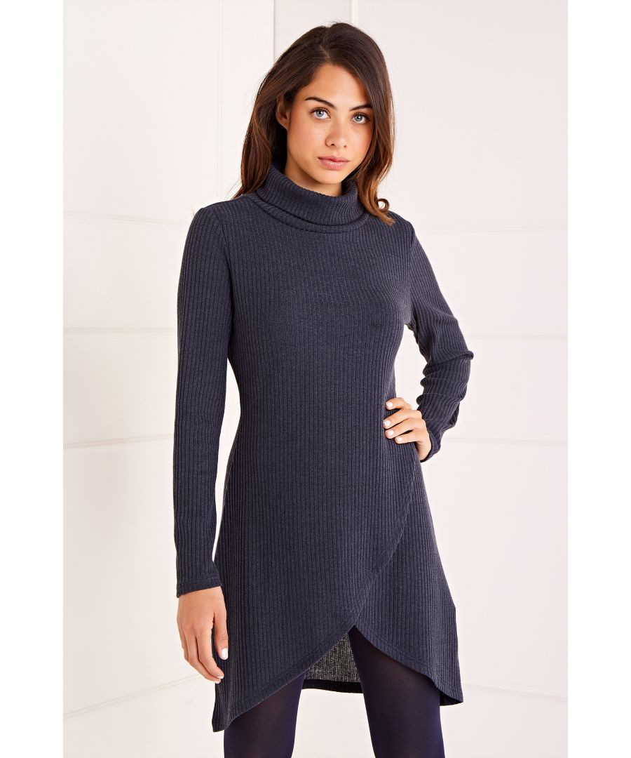 Image for Roll Neck Ribbed Jumper Dress