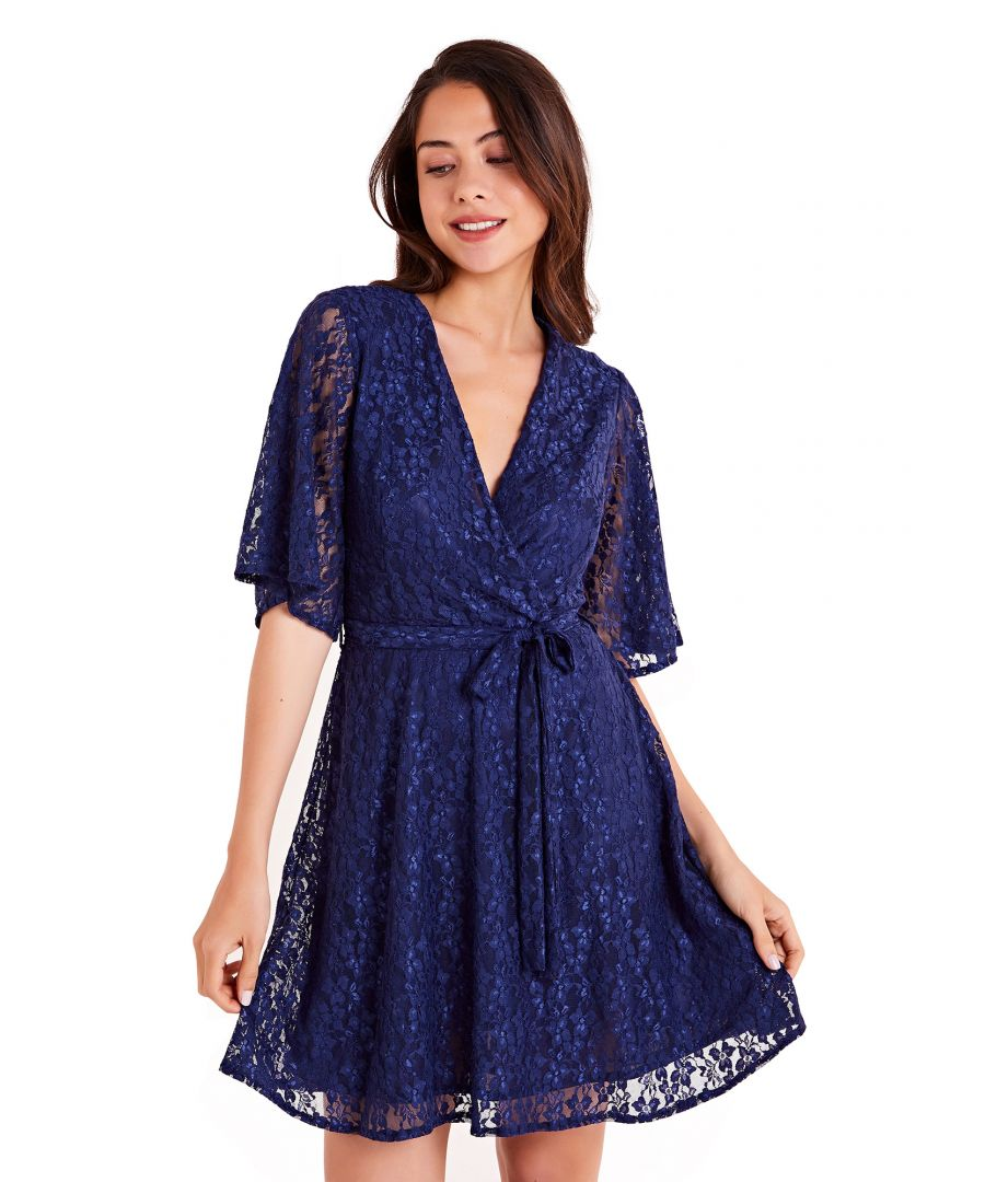 Image for Floral Lace Wrap Front Skater Dress