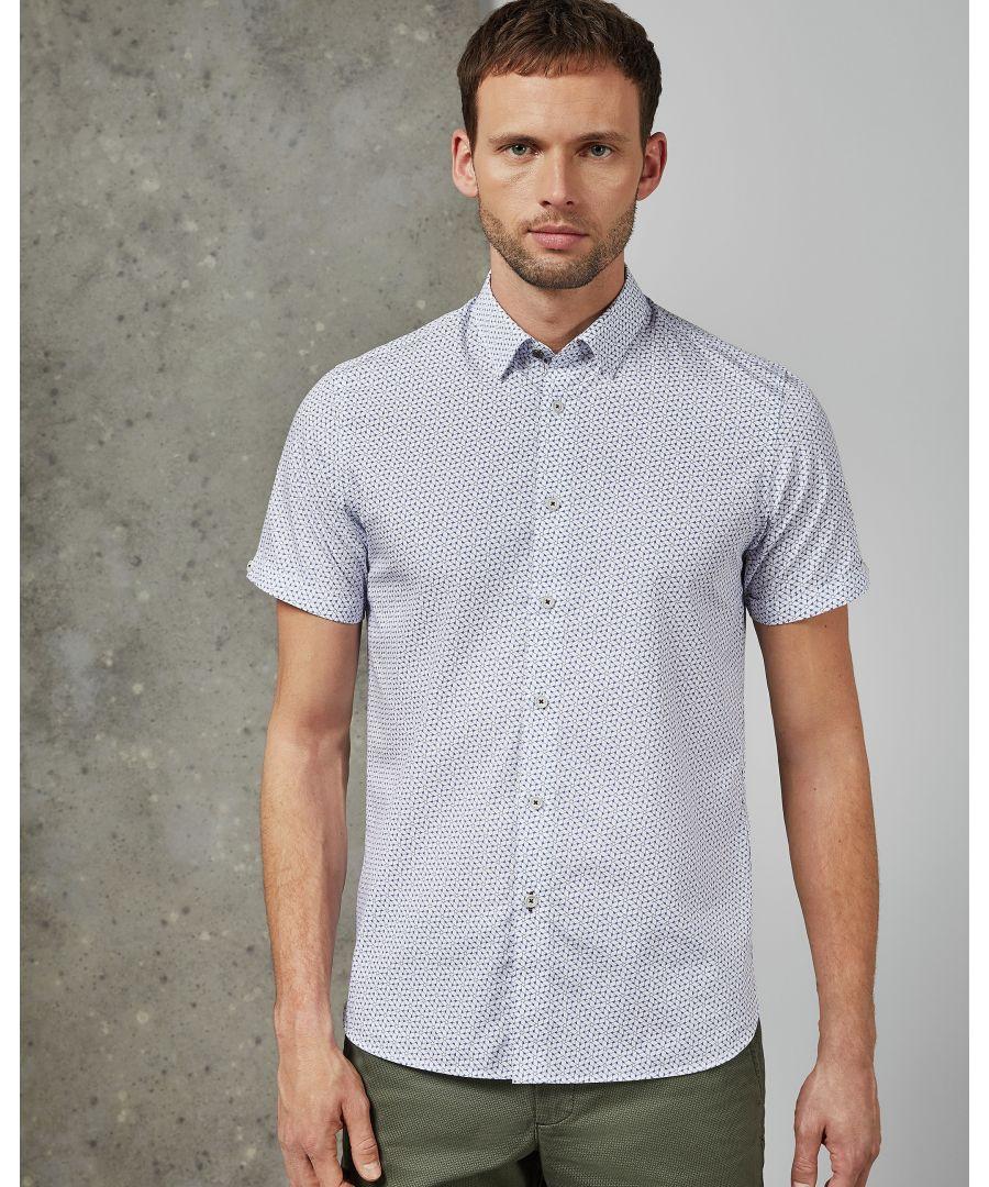 Image for Ted Baker Rakoon Short-Sleeved Rectangle Geo Shirt, Blue