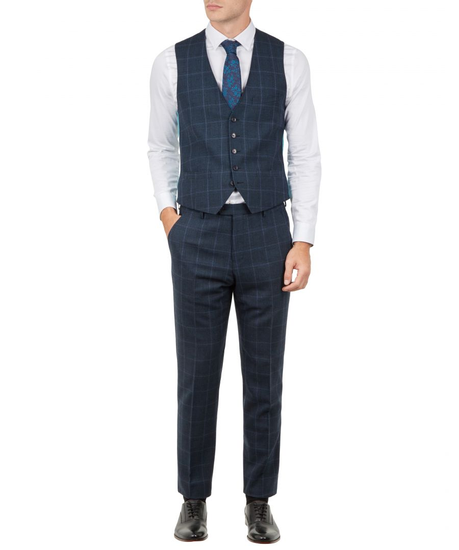 Image for Ted Baker Afanaw Debonair Check Waistcoat, Teal Blue