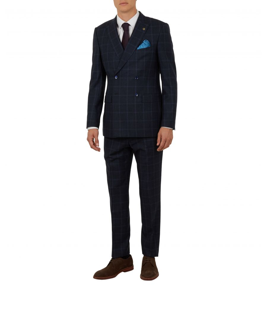 Image for Ted Baker Afanj Debonair Double-Breasted Check Suit Jacket, Navy
