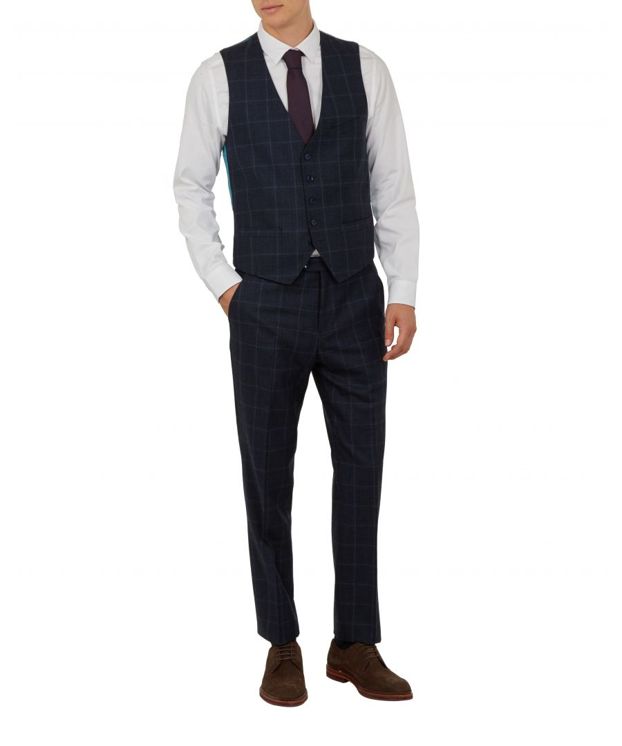 Image for Ted Baker Afanw Debonair Check Waistcoat, Navy