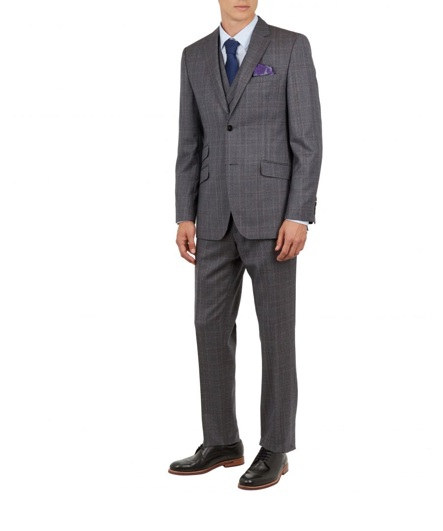 Image for Ted Baker Chetrej Classic Checked Wool Suit Jacket, Grey