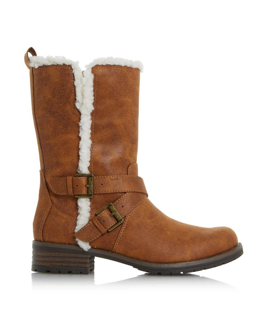 Image for Head Over Heels by Dune Ladies REECEY Faux Shearling-Lined Biker Boots