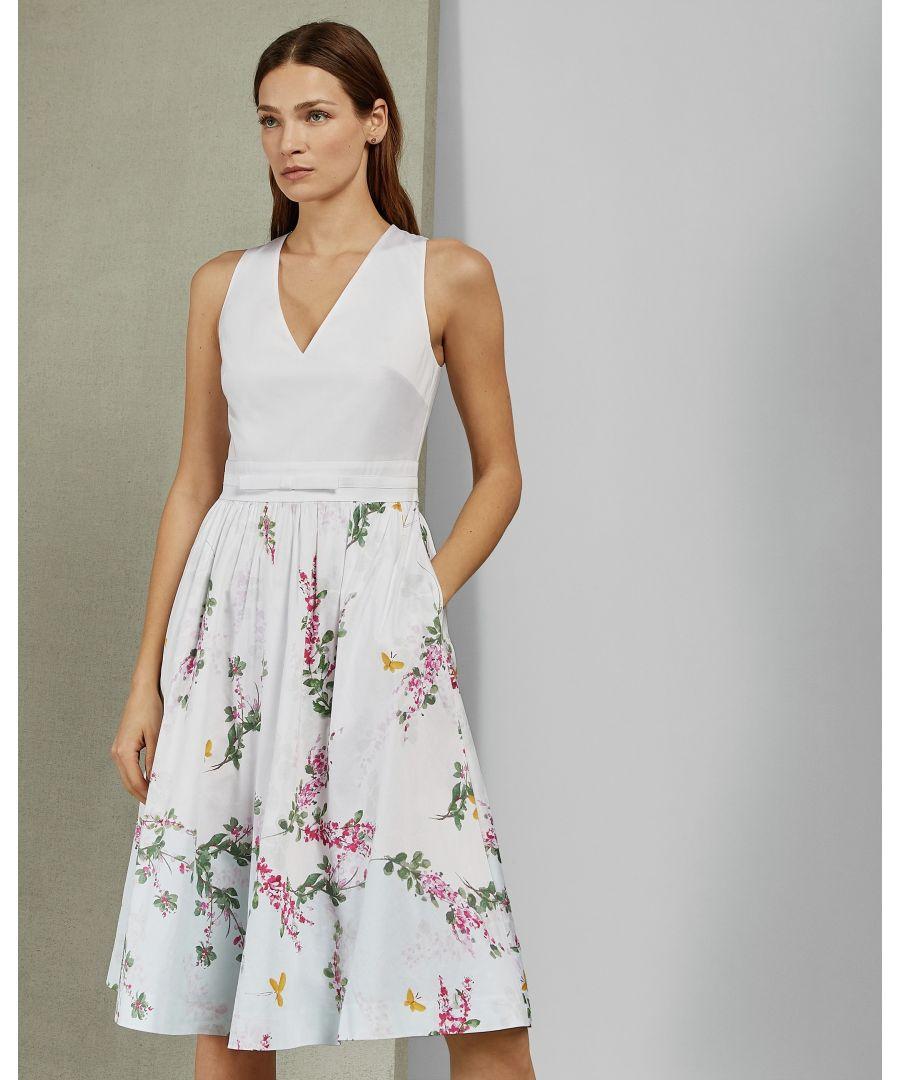 Image for Ted Baker Reyyne Full Skirted Sleevedless Dress, White