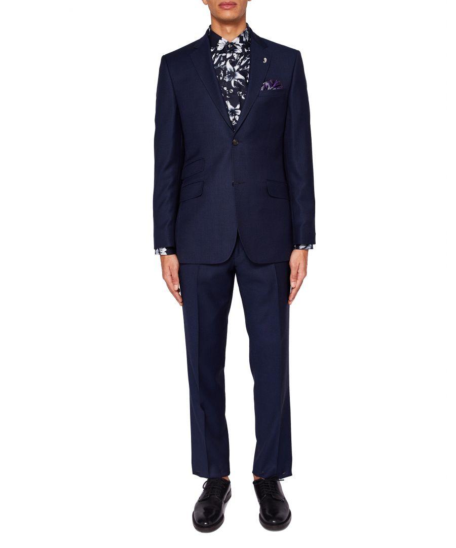 Image for Ted Baker Chaserj Sterling Regular Birdseye Wool Suit Jacket, Navy