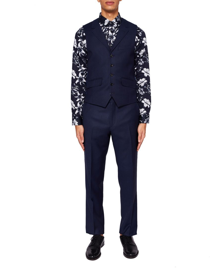 Image for Ted Baker Chaserw Sterling Birdseye Wool Waistcoat, Navy