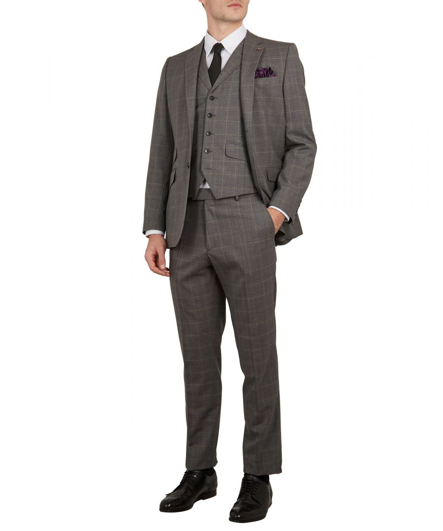 Image for Ted Baker Betrej Sterling Check Suit Jacket, Grey