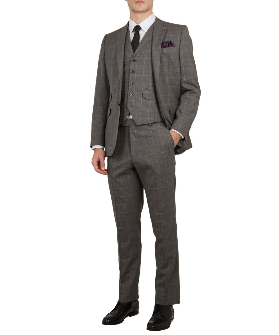 Image for Ted Baker Betrew Sterling Check Waistcoat, Grey