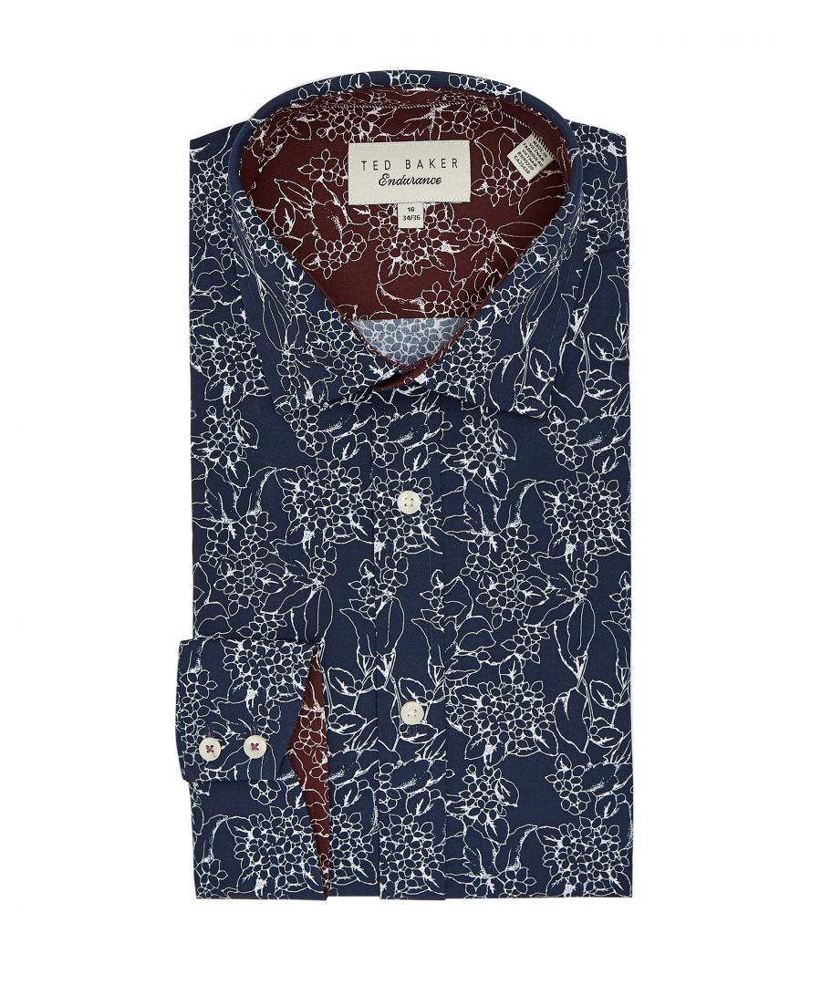 Image for Ted Baker Coddfi Linear Floral Endurance Shirt, Navy