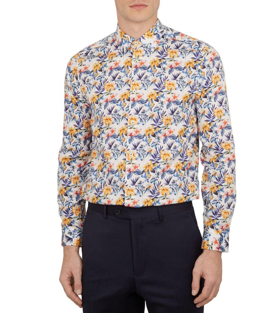 Image for Ted Baker Rafik Long-sleeved Flower Print Phormal Shirt, Navy
