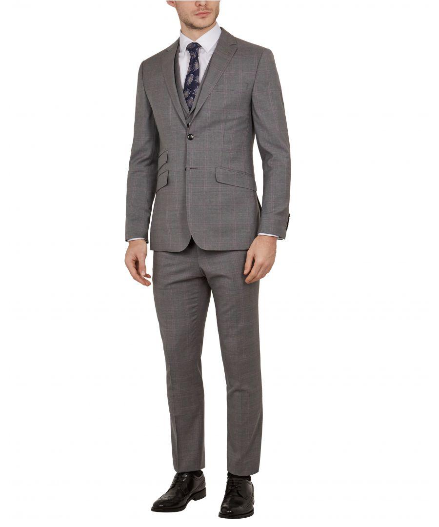 Image for Ted Baker Vikonj Sterling Check Suit Jacket, Grey