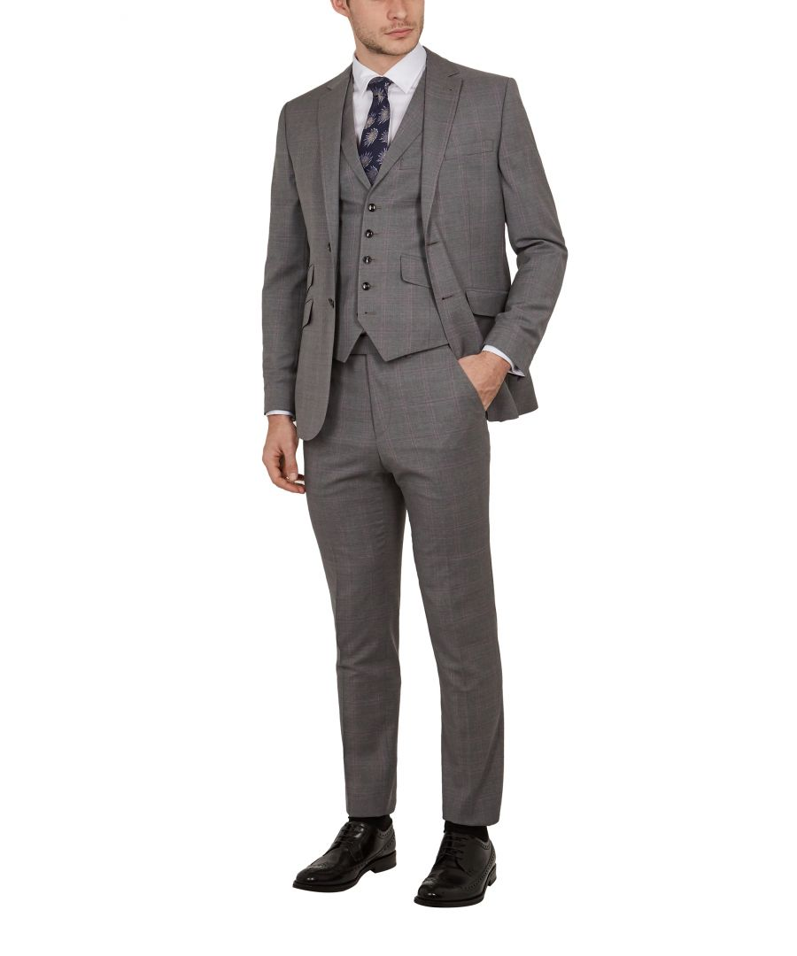 Image for Ted Baker Vikonw Sterling Check Waistcoat, Grey