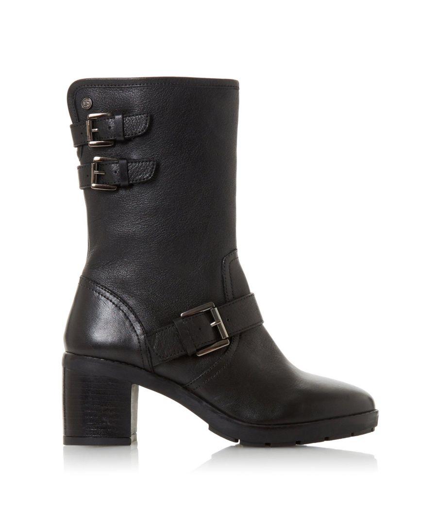 Image for Dune Ladies RILEYS Triple Strap Block Heel Biker Boots