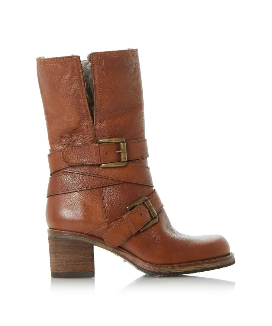 Image for Dune Ladies ROCKERR Buckle Strap Heeled Calf Boots