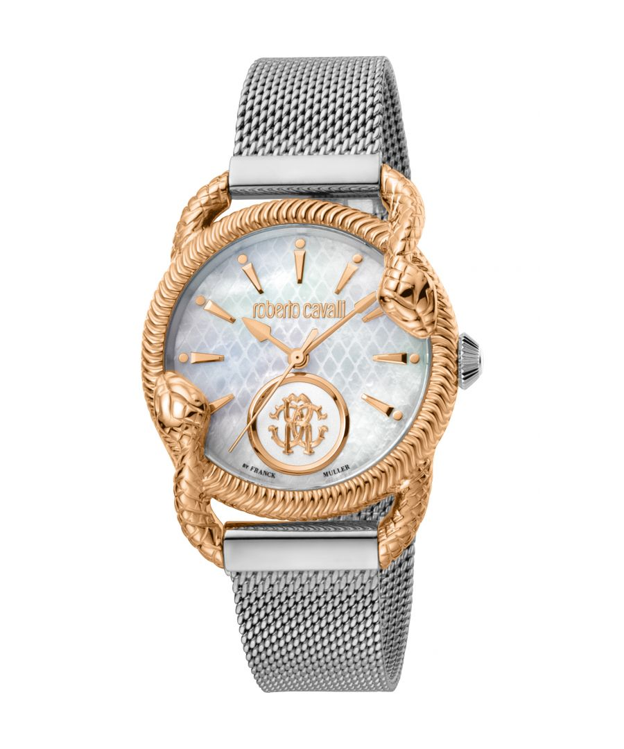 Image for ROBERTO CAVALLI Women Watch, Two Tone Silver & Rose Gold Color Case, White MOP Dial, Stainless Steel Mesh Bracelet, 2 Hands, 5 ATM..