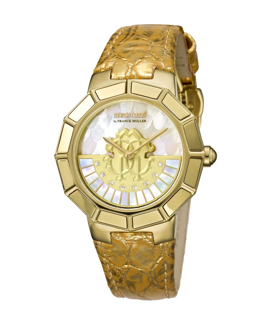 Image for Roberto Cavalli by Franck Muller Women's Goldtone Stainless Steel, Mother-of-Pearl & Crystal Leather-Strap Watch
