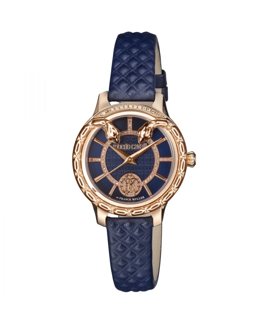 Image for Roberto Cavalli Women's Serpente Diamond Gold Tone Swiss Quartz Watch with Leather Calfskin Strap, Blue
