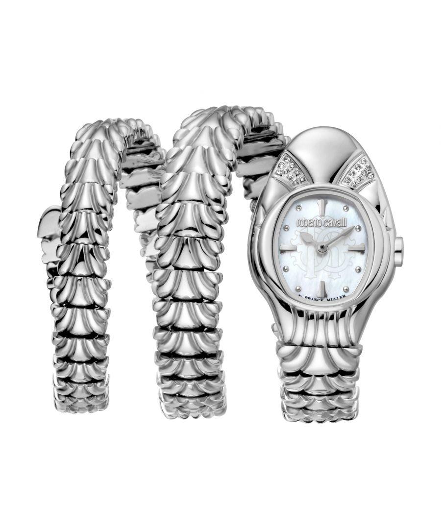 Image for ROBERTO CAVALLI Women Watch, Silver Color Case, White MOP Dial, Stainless Steel Metal Bracelet, 2 Hands, 5 ATM..