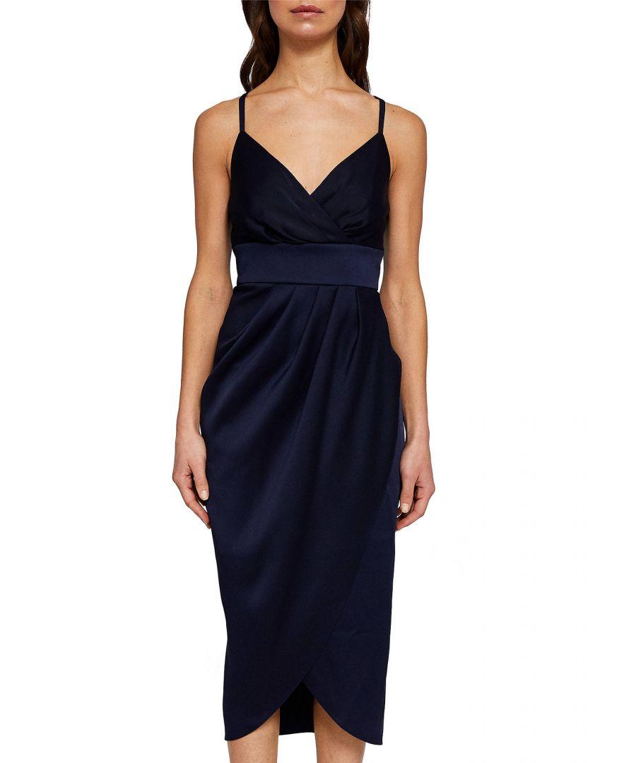 Image for Ted Baker Elyana Ruched Midi Dress, Navy