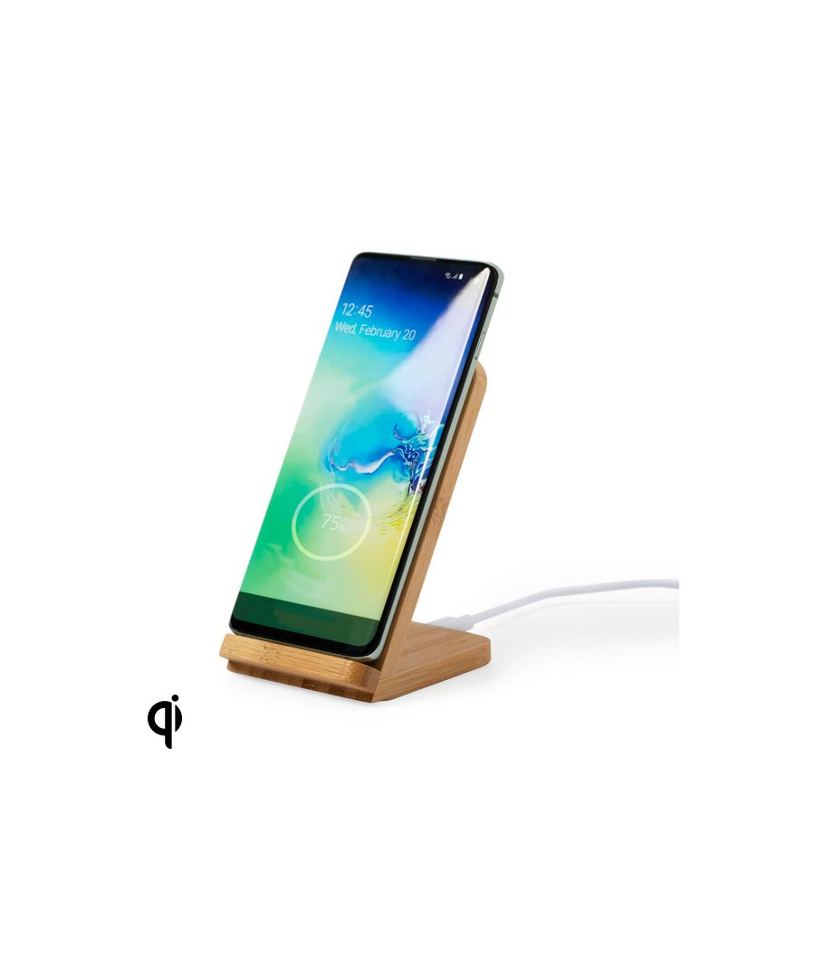 Image for Wireless Charger with Mobile Holder Bamboo 146521