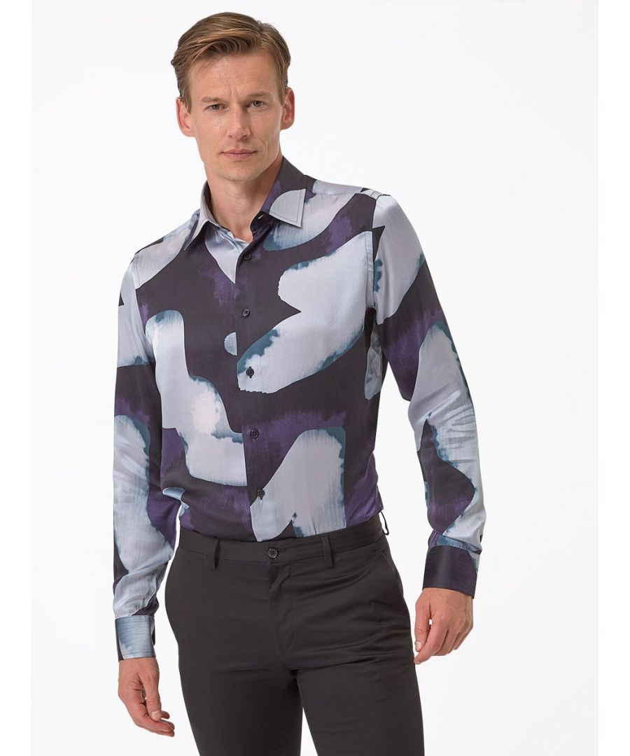 Image for Patch Print Silk Shirt Blue