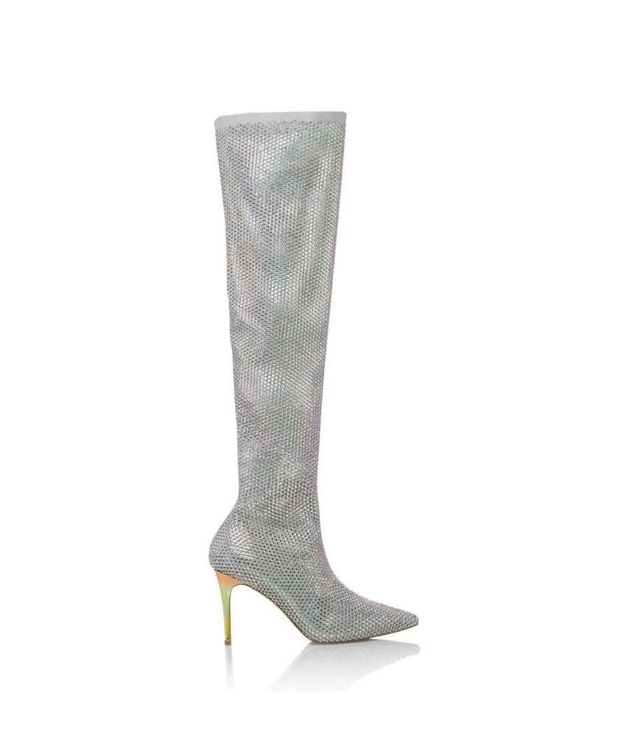 Image for Dune Ladies SACRAMENTIE Embellished Mesh Stretch Over The Knee Boots