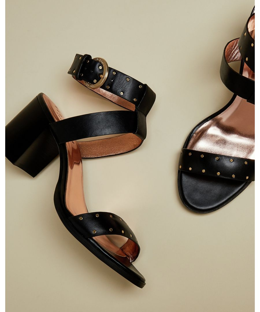 Image for Ted Baker Saelana Studded Leather Block Heeled Sandal, Black