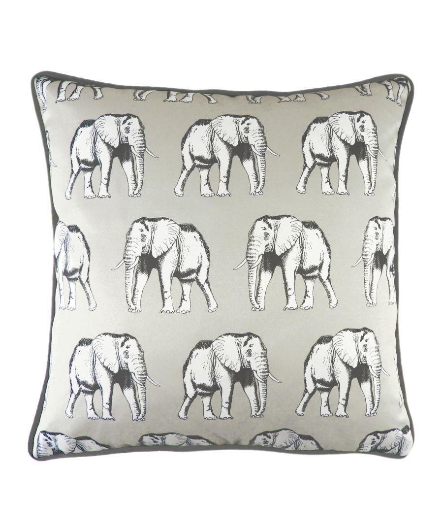 Image for Safari Elephant Silver Cushion