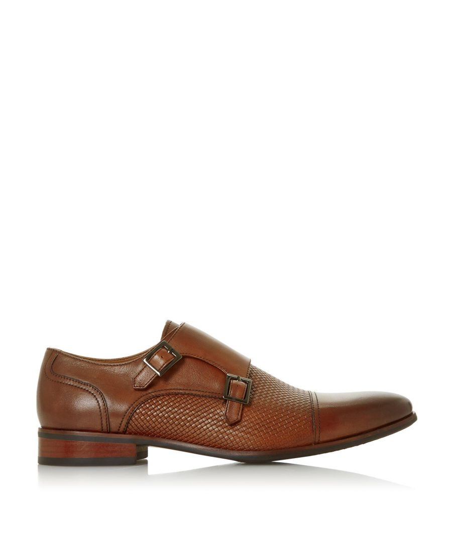 Image for Dune Mens SALVADOR Embossed Double Buckle Monk Shoes