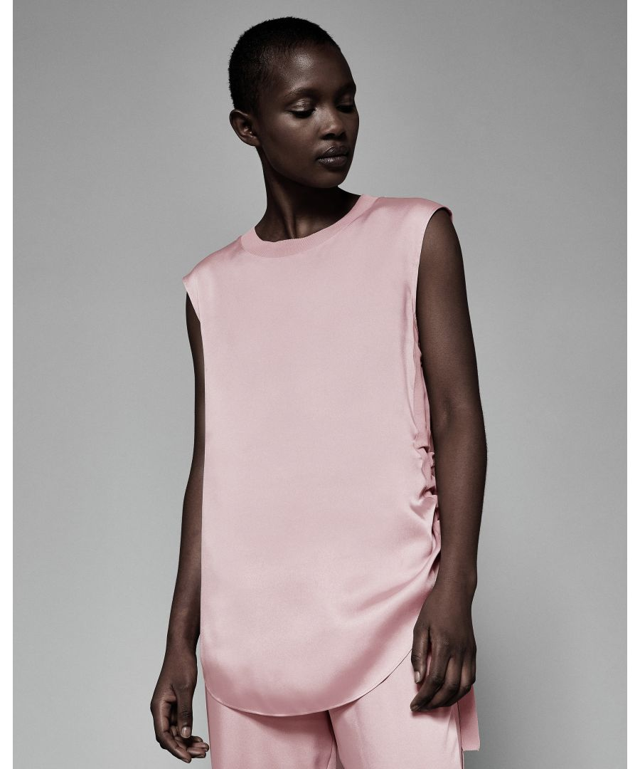 Image for Ted Baker Samiey Ruched Side Knitted Trim Top, Dusky Pink