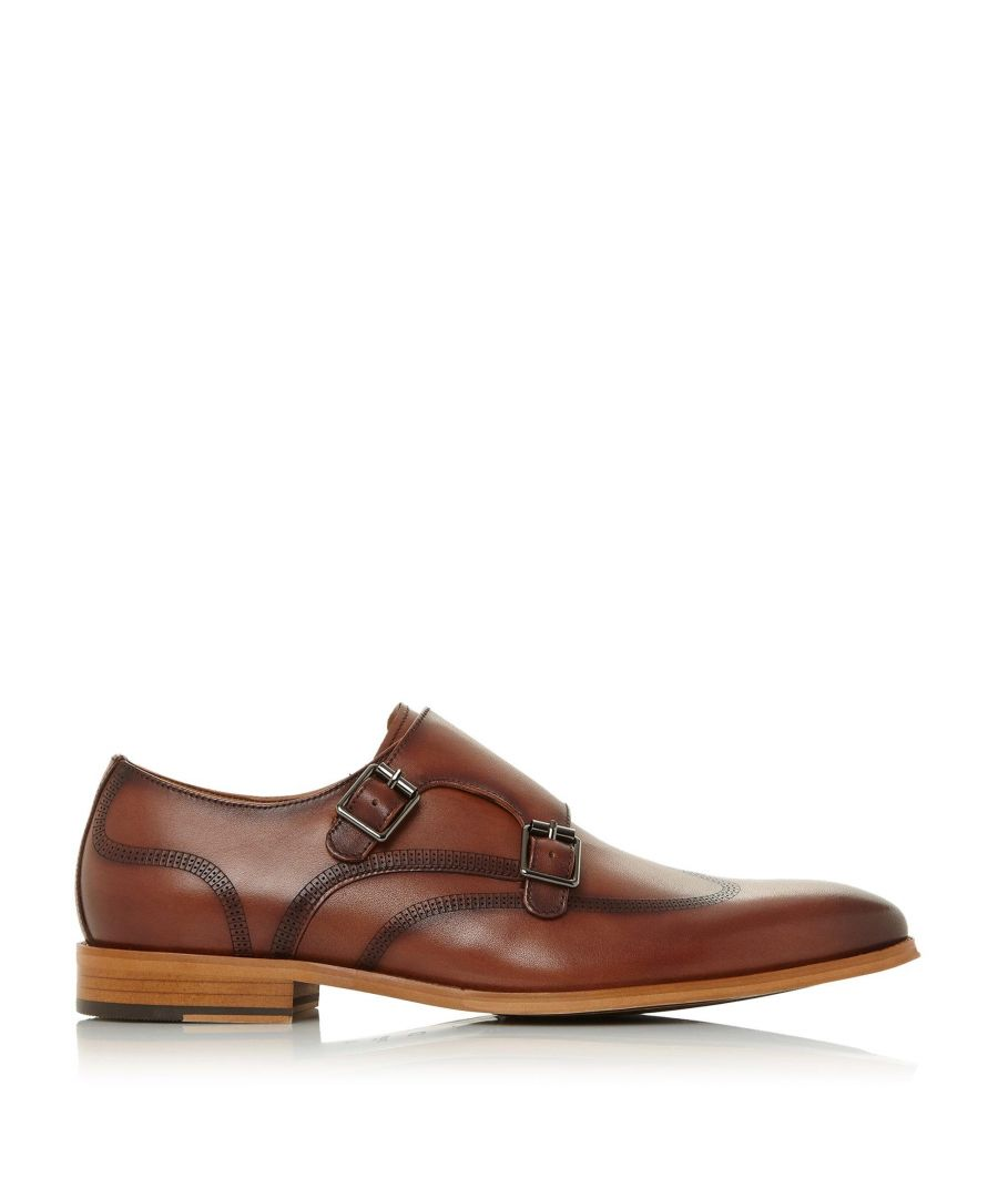 Image for Dune Mens SANDSTONE Contrasting Sole Monk Shoes