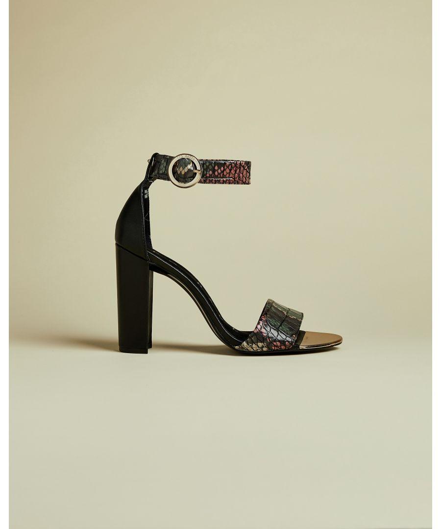 Image for Ted Baker Secoaim Snake Embossed High Heeled Sandal, Black