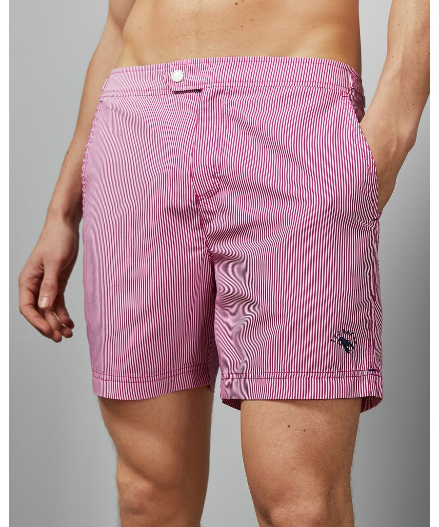 Image for Ted Baker Seel Stripe Print Swim Short, Pink