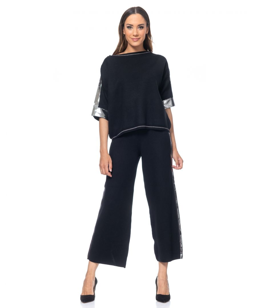 Image for Knited set of pants and top  with side Lurex Ribbon. Pants with wide shape and elastic waist and top with round neck and 3/4 sleeves
